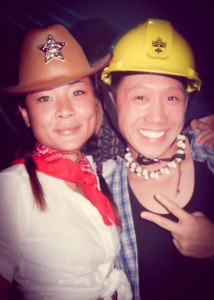 "2007:  This is actually the first time I met Thuy.  I was also supposed to be studying for an exam and threw this costume together with whatever I had in my closet.  I was supposed to be an ""engineer"", but ended up looking like one of the village people."